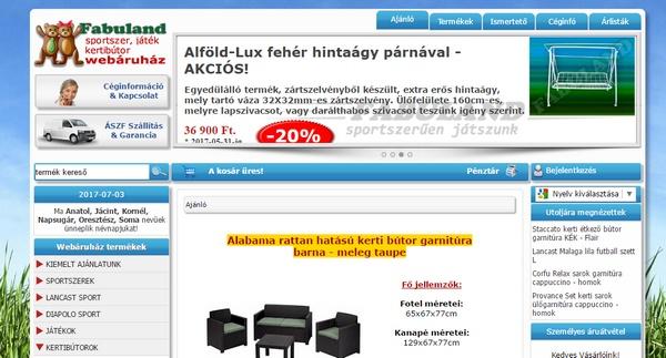 Fabuland.hu - Webáruházunkban kerti bútorokat, sportszereket, játékokat és egyéb termékeket lehet megvásárolni jó árakon.
